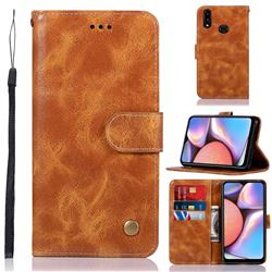 Luxury Retro Leather Wallet Case for Samsung Galaxy A10s - Golden