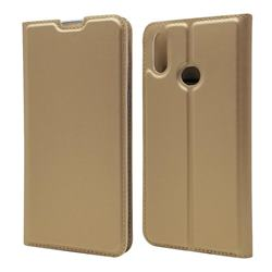 Ultra Slim Card Magnetic Automatic Suction Leather Wallet Case for Samsung Galaxy A10s - Champagne