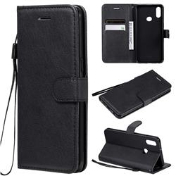 Retro Greek Classic Smooth PU Leather Wallet Phone Case for Samsung Galaxy A10s - Black