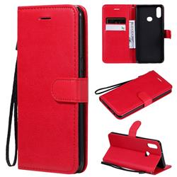 Retro Greek Classic Smooth PU Leather Wallet Phone Case for Samsung Galaxy A10s - Red