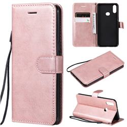 Retro Greek Classic Smooth PU Leather Wallet Phone Case for Samsung Galaxy A10s - Rose Gold