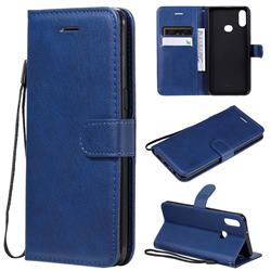 Retro Greek Classic Smooth PU Leather Wallet Phone Case for Samsung Galaxy A10s - Blue