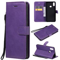 Retro Greek Classic Smooth PU Leather Wallet Phone Case for Samsung Galaxy A10s - Purple