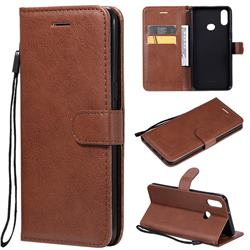 Retro Greek Classic Smooth PU Leather Wallet Phone Case for Samsung Galaxy A10s - Brown