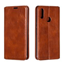 Retro Slim Magnetic Crazy Horse PU Leather Wallet Case for Samsung Galaxy A10s - Brown