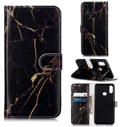 Black Gold Marble PU Leather Wallet Case for Samsung Galaxy A10s