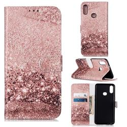 Glittering Rose Gold PU Leather Wallet Case for Samsung Galaxy A10s
