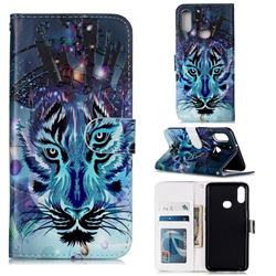 Ice Wolf 3D Relief Oil PU Leather Wallet Case for Samsung Galaxy A10s