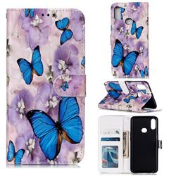 Purple Flowers Butterfly 3D Relief Oil PU Leather Wallet Case for Samsung Galaxy A10s