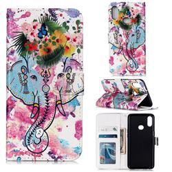 Flower Elephant 3D Relief Oil PU Leather Wallet Case for Samsung Galaxy A10s