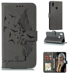 Intricate Embossing Lychee Feather Bird Leather Wallet Case for Samsung Galaxy A10s - Gray