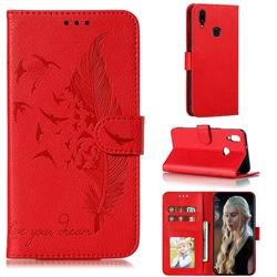 Intricate Embossing Lychee Feather Bird Leather Wallet Case for Samsung Galaxy A10s - Red
