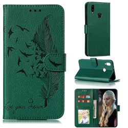 Intricate Embossing Lychee Feather Bird Leather Wallet Case for Samsung Galaxy A10s - Green