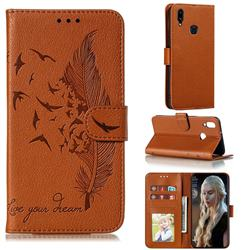 Intricate Embossing Lychee Feather Bird Leather Wallet Case for Samsung Galaxy A10s - Brown
