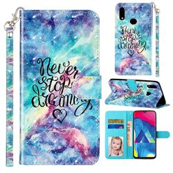 Blue Starry Sky 3D Leather Phone Holster Wallet Case for Samsung Galaxy A10s