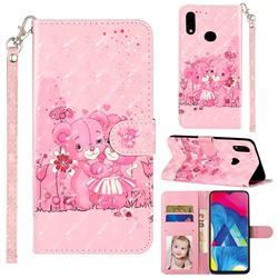 Pink Bear 3D Leather Phone Holster Wallet Case for Samsung Galaxy A10s