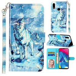 Snow Wolf 3D Leather Phone Holster Wallet Case for Samsung Galaxy A10s