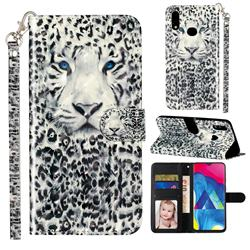 White Leopard 3D Leather Phone Holster Wallet Case for Samsung Galaxy A10s