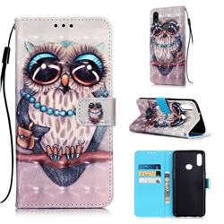 Sweet Gray Owl 3D Painted Leather Wallet Case for Samsung Galaxy A10s