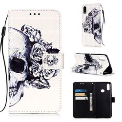 Skull Flower 3D Painted Leather Wallet Case for Samsung Galaxy A10s