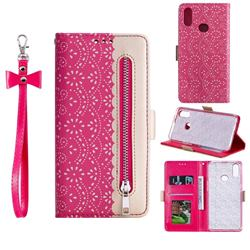 Luxury Lace Zipper Stitching Leather Phone Wallet Case for Samsung Galaxy A10s - Rose