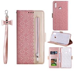 Luxury Lace Zipper Stitching Leather Phone Wallet Case for Samsung Galaxy A10s - Pink