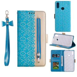 Luxury Lace Zipper Stitching Leather Phone Wallet Case for Samsung Galaxy A10s - Blue