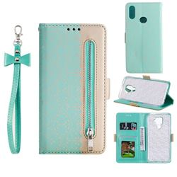 Luxury Lace Zipper Stitching Leather Phone Wallet Case for Samsung Galaxy A10s - Green