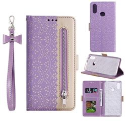 Luxury Lace Zipper Stitching Leather Phone Wallet Case for Samsung Galaxy A10s - Purple