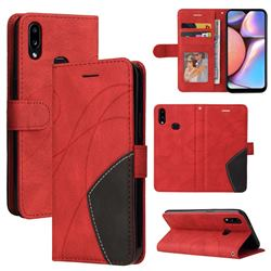 Luxury Two-color Stitching Leather Wallet Case Cover for Samsung Galaxy A10s - Red