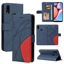 Luxury Two-color Stitching Leather Wallet Case Cover for Samsung Galaxy A10s - Blue