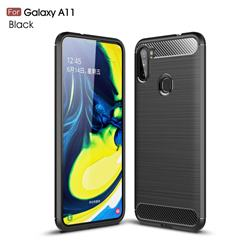 Luxury Carbon Fiber Brushed Wire Drawing Silicone TPU Back Cover for Samsung Galaxy A11 - Black