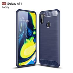 Luxury Carbon Fiber Brushed Wire Drawing Silicone TPU Back Cover for Samsung Galaxy A11 - Navy