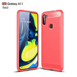 Luxury Carbon Fiber Brushed Wire Drawing Silicone TPU Back Cover for Samsung Galaxy A11 - Red