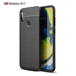 Luxury Auto Focus Litchi Texture Silicone TPU Back Cover for Samsung Galaxy A11 - Black