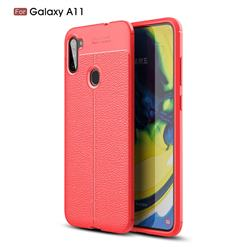Luxury Auto Focus Litchi Texture Silicone TPU Back Cover for Samsung Galaxy A11 - Red
