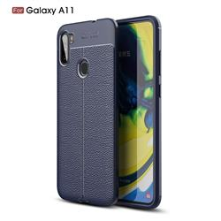 Luxury Auto Focus Litchi Texture Silicone TPU Back Cover for Samsung Galaxy A11 - Dark Blue