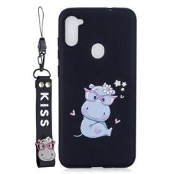 Black Flower Hippo Soft Kiss Candy Hand Strap Silicone Case for Samsung Galaxy A11