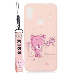 Pink Flower Bear Soft Kiss Candy Hand Strap Silicone Case for Samsung Galaxy A11