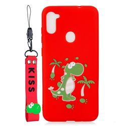 Red Dinosaur Soft Kiss Candy Hand Strap Silicone Case for Samsung Galaxy A11