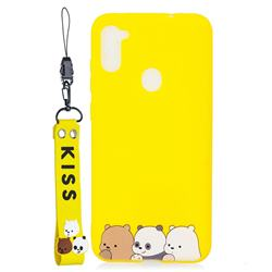 Yellow Bear Family Soft Kiss Candy Hand Strap Silicone Case for Samsung Galaxy A11