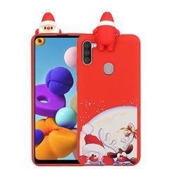 Santa Claus Elk Christmas Xmax Soft 3D Doll Silicone Case for Samsung Galaxy A11