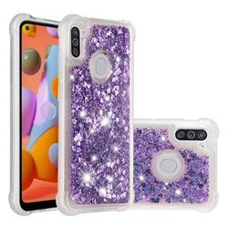 Dynamic Liquid Glitter Sand Quicksand Star TPU Case for Samsung Galaxy A11 - Purple