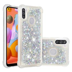 Dynamic Liquid Glitter Sand Quicksand Star TPU Case for Samsung Galaxy A11 - Silver