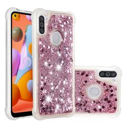 Dynamic Liquid Glitter Sand Quicksand Star TPU Case for Samsung Galaxy A11 - Diamond Rose