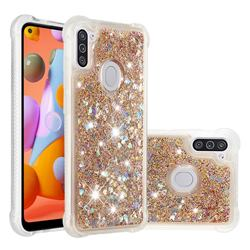 Dynamic Liquid Glitter Sand Quicksand Star TPU Case for Samsung Galaxy A11 - Diamond Gold