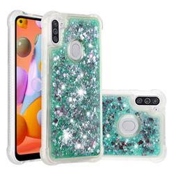 Dynamic Liquid Glitter Sand Quicksand TPU Case for Samsung Galaxy A11 - Green Love Heart