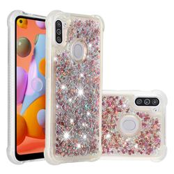 Dynamic Liquid Glitter Sand Quicksand TPU Case for Samsung Galaxy A11 - Rose Gold Love Heart