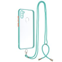 Necklace Cross-body Lanyard Strap Cord Phone Case Cover for Samsung Galaxy A11 - Blue
