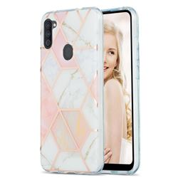 Pink White Marble Pattern Galvanized Electroplating Protective Case Cover for Samsung Galaxy A11